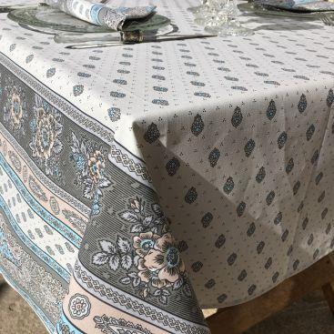 """Nappe en  coton enduit """"Tradition""""Beige et turquoise Marat d'Avignon"""