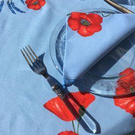 """Serviette en coton """"Coquelicots et lavande"""" bleu"""