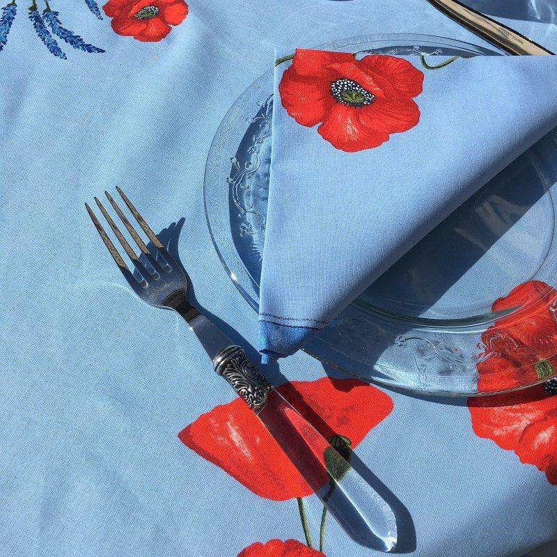 """Serviette de table provençale en coton """"Coquelicots"""" belu"""