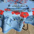 "Round tablecloth in cotton ""Poppies and lavender"" blue by TISSUS TOSELLI"