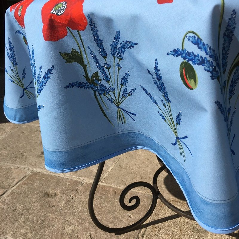 """Coated cotton round tablecloth """"Poppies and Lavender"""" blue by TISSUS TOSELLI"""