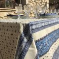 """Nappe provençale carrée en coton """"Tradition"""" Bleue et Blanche """"Marat d'Avignon"""""""