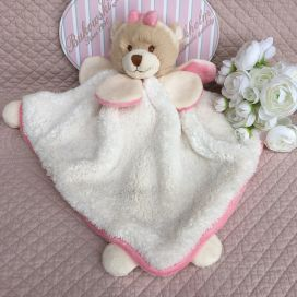 "Barbara Bukowski - Bear ""Viggo et Maria"" pink and white Baby Rug"