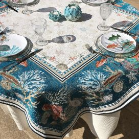 "Jacquard Webbed tablecloth ""Bonifaccio"" blue Tissus Toselli"
