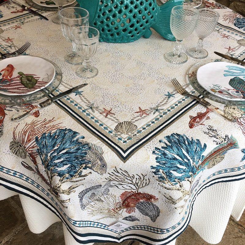 """Rectangular Jacquard tablecloth """"Bonifaccio"""" ecru Tissus Toselli"""