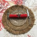 Round jute and straw placemat, natural color