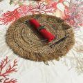 Set de table rond en jute et paille, naturel