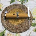 Set de table rond en jute, naturel et moutarde