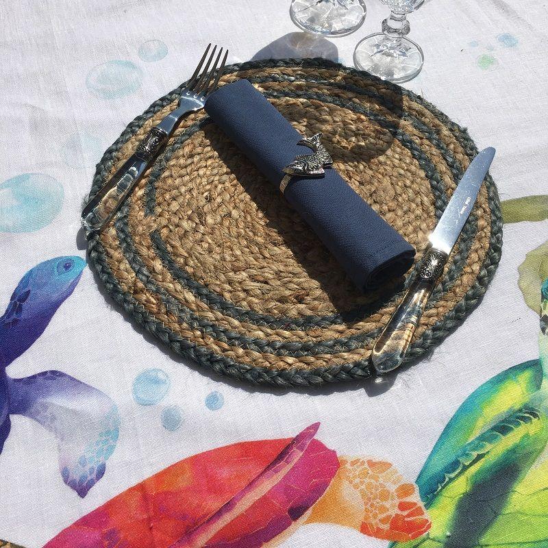 Set de table rond en jute, naturel et bleu