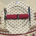 """Octogonal quilted placemats """"Avignon"""" ecru and red, by Marat d'Avignon"""