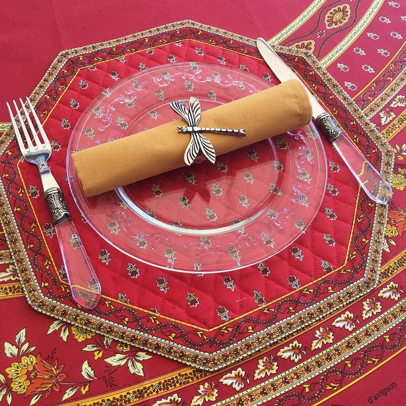 """Octogonal quilted placemats """"Avignon"""" red and yellow, by Marat d'Avignon"""