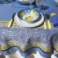 "Webbed Jacquard tablecloth ""Vaucluse"" blue and yellow, by TISSUS TOSELLI, Nice"