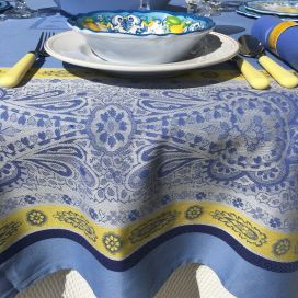 """Webbed Jacquard tablecloth """"Vaucluse"""" blue and yellow, by TISSUS TOSELLI, Nice"""