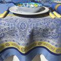 """Nappe rectangulaire Jacquard """"Vaucluse"""" bleue et jaune, Tissus Toselli"""