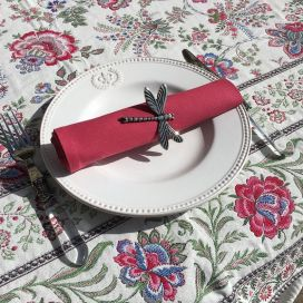"Cotton table napkin ""Coucke"" plain griot cherry"