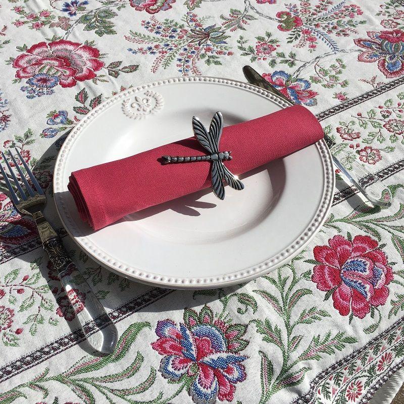 "Cotton table napkin ""Coucke"" plain griot cherry"