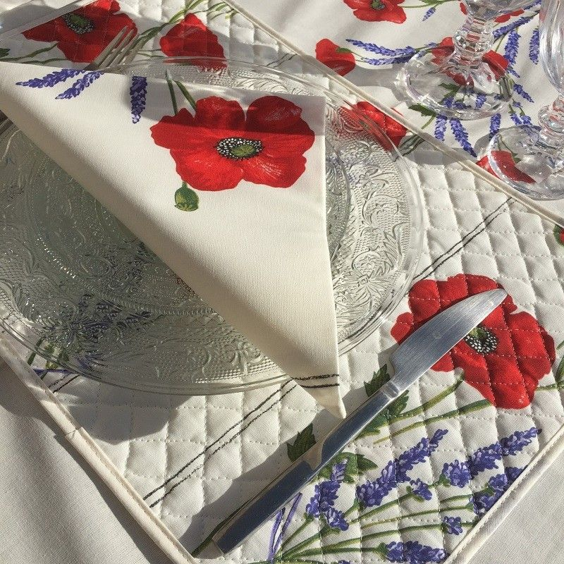 """Set de table en coton matelassé """"coquelicots et lavande"""""""