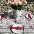 "Jacquard-webbed tablecloth ""Garance"" fuchsia and blue Tissus Toselli"