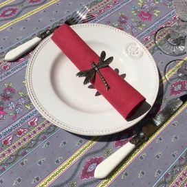 "Provence rectangular tablecloth in cotton ""Avignon"" grey and pink ""Marat d'Avignon"""