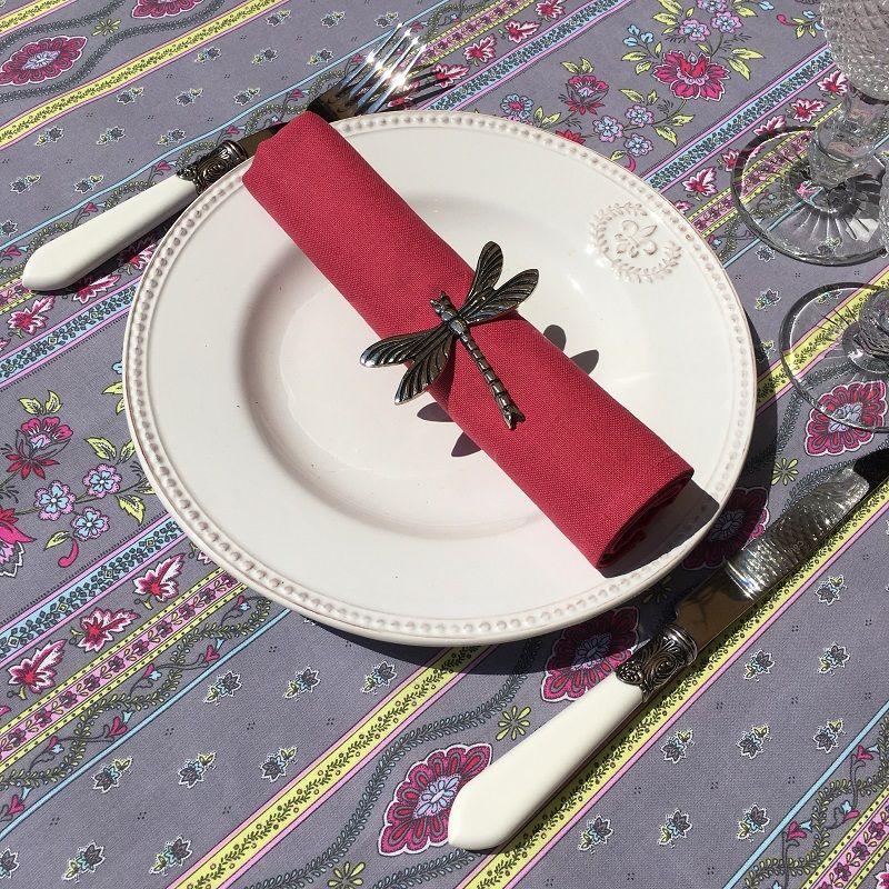 "Provence rectangular tablecloth in cotton ""Avignon"" grey and pink ""Marat d'Avignon"""