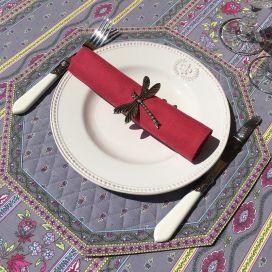 """Set de table octogonal cadré """"Avignon"""" gris et rose, Marat d'Avignon"""