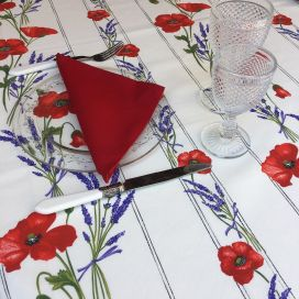 "Rectangular provence cotton tablecloth ""Poppies and Lavender"" off-White from Tissus Toselli in Nice"