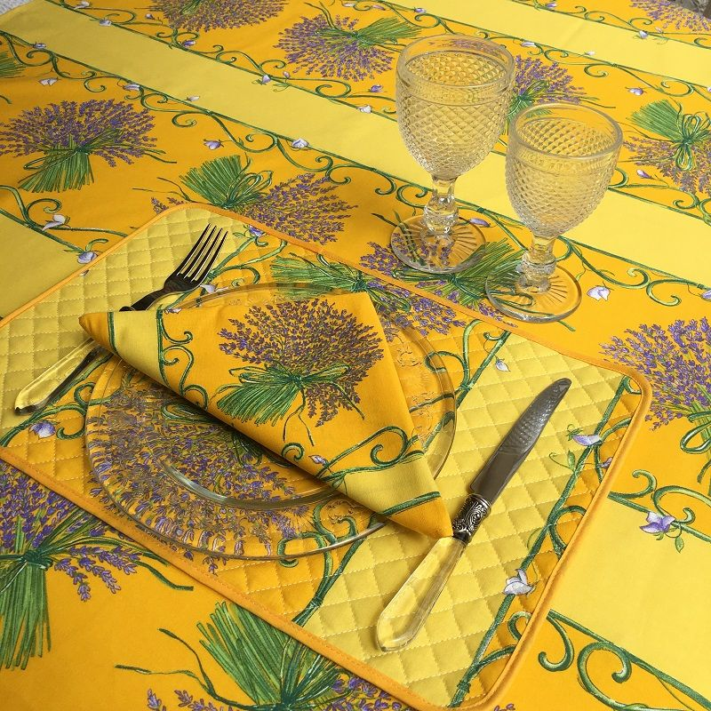 "Rectangular provence cotton tablecloth ""Bouquet de Lavande"" yellow from Tissus Toselli in Nice"