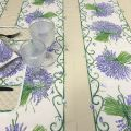"Rectangular provence cotton tablecloth ""Bouquet de Lavande"" ecru from Tissus Toselli in Nice"
