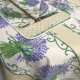 """Nappe provençale rectangulaire en coton """"Bouquet de Lavande"""" fond écru Tissus Toselli"""