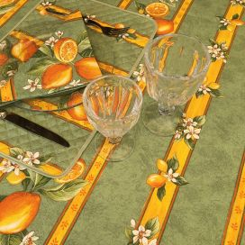 "Rectangular provence cotton tablecloth ""Citrons"" green and yellow from Tissus Toselli in Nice"