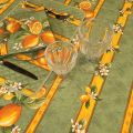 """Rectangular provence cotton tablecloth """"Citrons"""" green and yellow from Tissus Toselli in Nice"""
