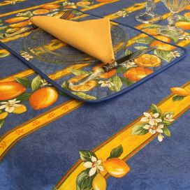"Rectangular provence cotton tablecloth ""Citrons"" blue and yellow from Tissus Toselli in Nice"