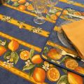 """Rectangular provence cotton tablecloth """"Citrons"""" blue and yellow from Tissus Toselli in Nice"""