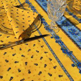 """Nappe provençale carrée en coton """"Tradition"""" jaune  """"Marat d'Avignon"""""""