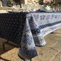 """Square provence cotton tablecloth """"Bastide"""" Blue and white """"Marat d'Avignon"""""""