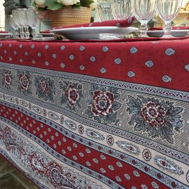"Square provence cotton tablecloth ""Bastide"" Grey and red ""Marat d'Avignon"""