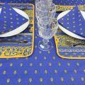 "Rectangular provence cotton tablecloth ""Bastide"" Blue and yellow ""Marat d'Avignon"""