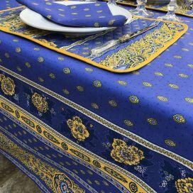 """Nappe provençale carrée en coton """"Bastide"""" bleue et jaune """"Marat d'Avignon"""""""