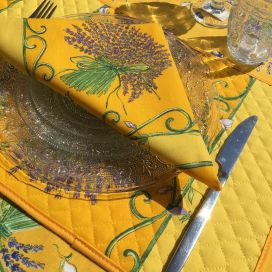 "Cotton napkins ""Bouquet de Lavande"" yellow"