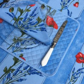 "Quilted cotton placemat ""Poppies and Lavender"" blue"