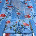 """Set de table en coton matelassé """"Coquelicots et Lavande"""" bleu"""
