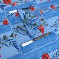 """Nappe provençale rectangulaire en coton """"Coquelicots et Lavande"""" fond bleu Tissus Toselli"""
