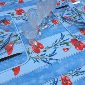 "Rectangular provence cotton tablecloth ""Poppies and Lavender"" blue from Tissus Toselli in Nice"