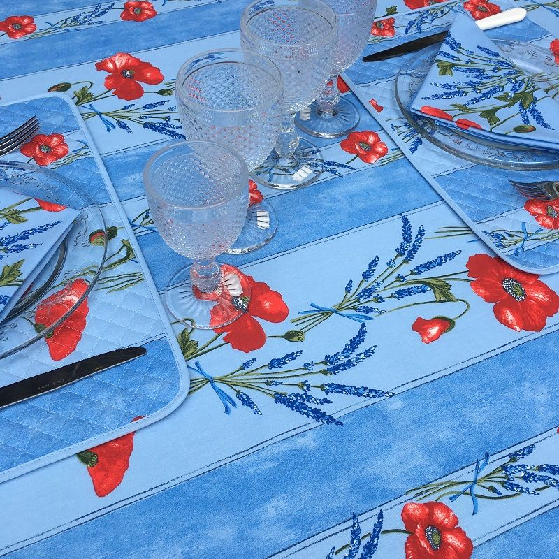 """Rectangular provence cotton tablecloth """"Poppies and Lavender"""" blue from Tissus Toselli in Nice"""