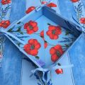 "Coated cotton bread basket with laces, ""Poppies and Lavender"" bue"