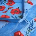 """Coated cotton bread basket with laces, """"Poppies and Lavender"""" bue"""