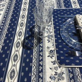 "Provence rectangular tablecloth in cotton ""Avignon"" blue and white ""Marat d'Avignon"""