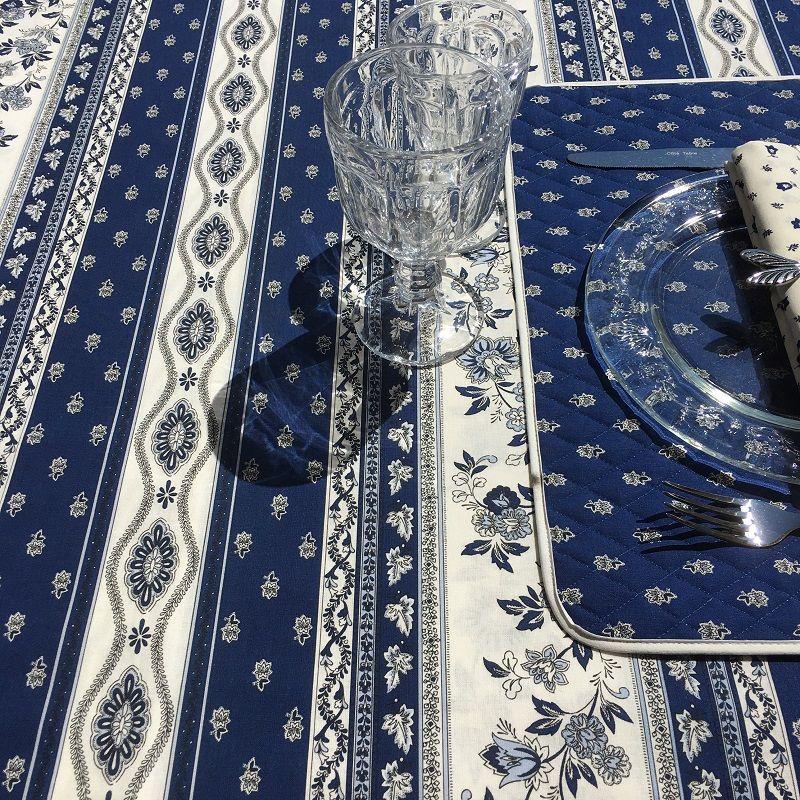 """Nappe provençale rectangulaire en coton """"Avignon"""" bleu et blanc """"Marat d'Avignon"""""""