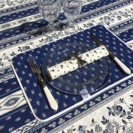 """Nappe provençale carrée en coton """"Avignon"""" bleu et blanc """"Marat d'Avignon"""""""