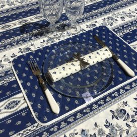 "Provence square tablecloth in cotton ""Avignon"" blue and white ""Marat d'Avignon"""